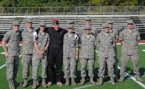 JROTC members with parachutist